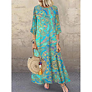 cheap -Women's Shift Dress Maxi long Dress - 3/4 Length Sleeve Tribal Print Summer Casual Daily Loose 2020 Blue M L XL XXL XXXL