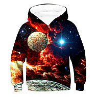 cheap -Kids Boys' Active Basic Galaxy Long Sleeve Hoodie & Sweatshirt Red
