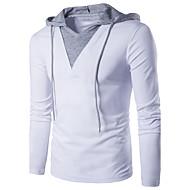 Χαμηλού Κόστους -Ανδρικά Καθημερινά T-shirt Μονόχρωμο Patchwork Μακρυμάνικο Λεπτό Άριστος Βαμβάκι Ενεργό Κομψό στυλ street Με Κουκούλα Λευκό Μαύρο