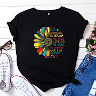 cheap -Women's T-shirt Letter Sunflower Print Round Neck Tops 100% Cotton Basic Basic Top White Black Yellow
