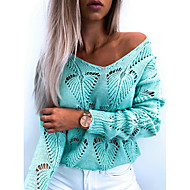 cheap -Women's Basic Knitted Hollow Out Solid Colored Sweater Long Sleeve Sweater Cardigans V Neck Fall Winter Black Blushing Pink Light Blue