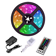 abordables -5 m Sets de Luces LED 3528 SMD 8mm RGB Control remoto Cortable Regulable 12 V / Conectable / Auto-Adhesivas / Color variable / IP44