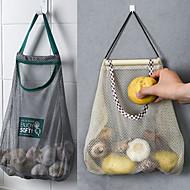billige -2 stk kjøkken grønnsaksløk potetoppbevaring hengepose hul pustende nettingpose kjøkken hvitløk ingefær netting oppbevaringspose