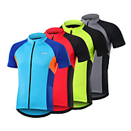 cheap -Arsuxeo Men's Short Sleeve Cycling Jersey Spandex Polyester Dark Grey Red Blue Patchwork Bike Jersey Top Mountain Bike MTB Road Bike Cycling Breathable Quick Dry Sweat-wicking Sports Clothing Apparel
