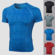cheap -YUERLIAN Men's Compression Shirt Running Shirt Athletic Short Sleeve Spandex Breathable Quick Dry Soft Fitness Gym Workout Performance Running Training Sportswear Solid Colored Tee Tshirt Top Black