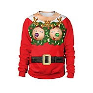 Men's Women's Pullover Sweatshirt Cartoon Ugly Christmas Round Neck Christmas Hoodies Sweatshirts  Red