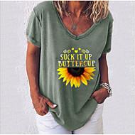 cheap -Women's T-shirt Letter Sunflower V Neck Tops Basic Top White Black Blue