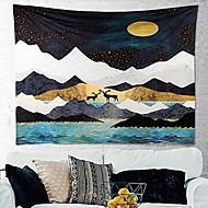 cheap -mountain tapestry, wall hanging tapestry blanket hd print mountain deer moonlight nature landscape wall tapestry art for bedroom room home decoration