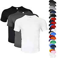 cheap -Men's Running Shirt 3 Pack Cotton Breathable Soft Sweat-wicking Fitness Gym Workout Running Everyday Use Jogging Sportswear Solid Colored Tee Tshirt Top Green+White+Purple White Black Dark Gray Light