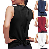 cheap -Women's Yoga Top Patchwork Tie Back Fashion White Black Burgundy Cyan Mesh Cotton Fitness Gym Workout Running Tee Tshirt Tank Top Sport Activewear Lightweight 4 Way Stretch Breathable Comfort Quick