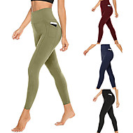cheap -UABRAV Women's High Waist Running Tights Leggings Compression Pants Athletic Bottoms with Phone Pocket Yoga Fitness Gym Workout Running Jogging Tummy Control Butt Lift Breathable Sport Black Burgundy