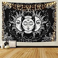 cheap -sun and moon tapestry black and white burning sun with stars tapestry psychedelic tapestry indian tapestry for room