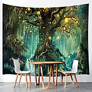 cheap -fantasy decor tapestry wall hanging, tree of life and waterfall with elf, polyester fabric wall tapestry for home living room bedroom dorm decor 80w x 60l inches