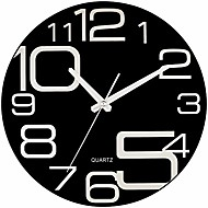 cheap -large decorative black glass wall clock 12 inch silent non ticking quality quartz battery operated round unique modern design for home/kitchen/living room/bedroom/office & #40;jet black& #41;