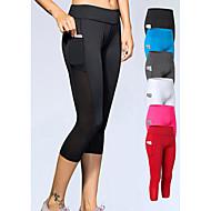 cheap -YUERLIAN Women's High Waist Yoga Pants Pocket Capri Leggings 4 Way Stretch Breathable Quick Dry White Black Red Mesh Spandex Fitness Gym Workout Running Sports Activewear High Elasticity Slim