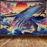 "cheap -japanese whale cool decor tapestry for men, sun the great wave trippy anime large tapestry wall hanging for bedroom, ukiyo-e ocean hippie home tapestry (80"" w x 60"" h)"