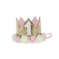 baby prinsesse bursdag hatt tiara krone gnistrende gull blomst stil med kunstig rose blomst