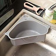 abordables -Cesta multiusos de cocina soporte de almacenamiento triangular estante de drenaje multifuncional estante de almacenamiento esquina de ventosa de cocina (gris)