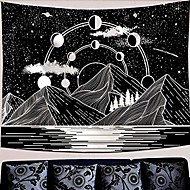 "billige -mountain moon tapestry stars river black and white art tapetry wall hanging home decor& # 40; 50 ""x 60""& # 41;"