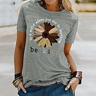cheap -Women's T shirt Floral Flower Sunflower Print Round Neck Tops Basic Basic Top White Black Blue