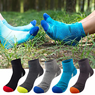 cheap -Men's Hiking Socks 5 Pairs Breathable Moisture Wicking Anti Blister Stretchy Socks Patchwork Cotton Autumn / Fall Spring Summer for Camping / Hiking Hunting Fishing