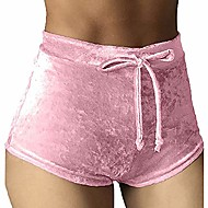 women's casual soft high waist velvet drawstring casual booty shorts x-large pink