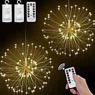 economico -2 pz led appeso starburst string luci 120 led fai da te fuochi d'artificio rame fata ghirlanda luci di natale festival all'aperto festa regalo di festa scintillio luce 1 pz