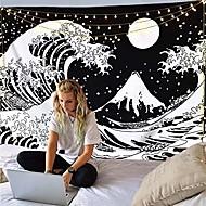 economico -stile di pittura giapponese kanagawa onda arazzo da parete art decor coperta tenda appesa casa camera da letto soggiorno decorazione ukiyo-e mare tarocchi nero bianco