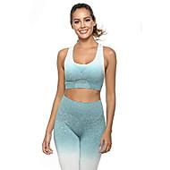 womens workout set 2 piece - seamless high waist leggings and sports bra yoga ombre activewear set (blue, medium)