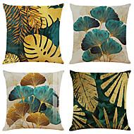 economico -set di 4 federe per cuscini rami aperti e foglie sciolte federe per cuscini decorativi quadrati in lino fodere per cuscini per divani 18x18
