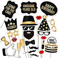 diy happy birthday props for photo booth stand - suitable for his or hers party celebration (34 count, black and gold kit)