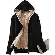 hoodies for women winter fleece sweatshirt - full zip up thick sherpa lined black-xl
