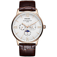 SMAEL Men's Dress Watch Quartz Stylish Casual Large Dial Analog Black Black / Brown Brown / One Year / Leather