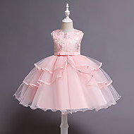 Toddler Girls' Cute Streetwear Floral Layered Sleeveless Knee-length Dress Blue