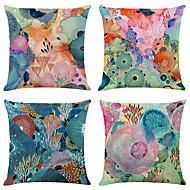 abordables -Juego de 4 fundas de almohada decorativas cuadradas de lino del mundo marino coloridas fundas de cojines para sofá 18x18