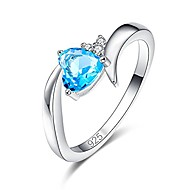 created blue topaz 925 sterling silver plated heart plated ring for women