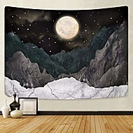 cheap -mountain tapestry moon stars tapestry starry night sky tapestries nature wall tapestrys black mountain tapestry wall hanging for room(70.9 x 92.5 inches)