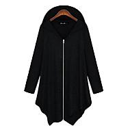 kvinners bomull casual løs pluss størrelse hettegenser glidelås jakke uttrekk svart
