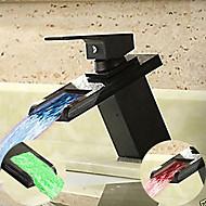 economico -rubinetto per lavandino da bagno nero semplice - rubinetteria a cascata con rubinetteria a led monoforo / monocomando monoforo