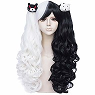anime monokuma cosplay wig with pigtails, long black and white lolita gothic junko wigs with bear clips + cap