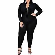 ett stykke jumpsuits for kvinner - pluss størrelse floral print glidelås dyp v-hals bodycon lange bukser jumpsuits catsuits playsuits black 4xl