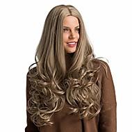 naturalne długie brązowe lub złote falowane włosy czarne gradientowe szare długie kręcone żaroodporne włosy peruka z włókien syntetycznych (brązowa)