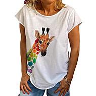 Damska koszulka na co dzień z okrągłym dekoltem i krótkim rękawem Giraffe Cartoon Animal Graphic T-shirt z nadrukiem Letnia koszulka damska biała