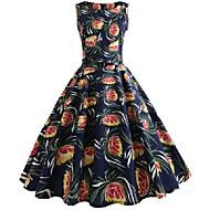 Women's A-Line Dress Knee Length Dress - Sleeveless Print Zipper Print Summer Casual Vintage 2020 Black S M L XL XXL