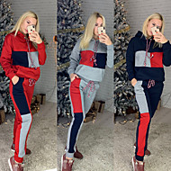 Women's 2-Piece Tracksuit Sweatsuit Street Athleisure Long Sleeve 2pcs Winter Thermal Warm Breathable Soft Fitness Gym Workout Running Jogging Training Sportswear Stripes Normal Outfit Set Clothing