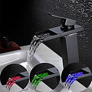 economico -Lavandino rubinetto del bagno - Con LED / Cascata Bronzo lucidato Installazione centrale Una manopola Un foroBath Taps
