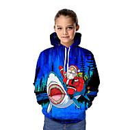 Kids Girls' Active Santa Claus 3D Graphic Christmas Print Long Sleeve Hoodie & Sweatshirt Blue