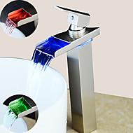abordables -grifería de aluminio para lavabo del baño - grifos centrales de una sola manija cepillados con níquel led