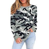Dame Pluss størrelse Topper Bluse Trykt mønster Kamuflasje Farge Leopard Stor størrelse Rund hals Langermet Stor størrelse / Store størrelser