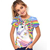 cheap -Kids Girls' T shirt Tee Short Sleeve Horse Unicorn Print Graphic 3D Causal Print Children Tops Active Rainbow 2-13 Years